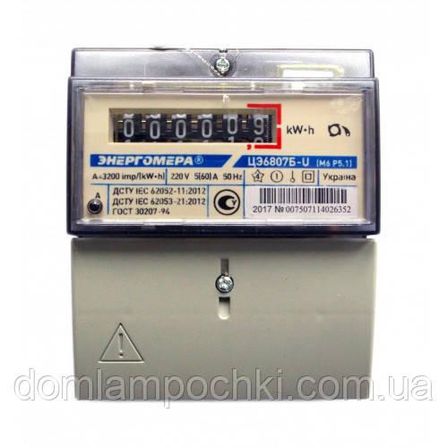 Электросчетчик однофазный Энергомера ЦЭ6807Б-U K 1.0 220B 5-60A М6Р5.1