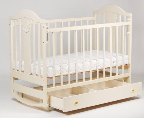 """Кроватка детская """"Наполеон"""" NEW маятник с ящиком, ваниль"""