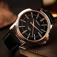 Часы мужские наручные кварцевые с чёрным кожаным ремешком и чёрным циферблатом