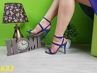 Синие женские босоножки на шпильке класические со стразами, фото 1