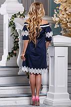 Летнее платье свободное миди кружева открытые плечи темно синее, фото 3