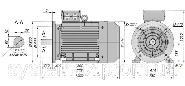 АИР355М4 / АИР 355 М4 / IM 2081 / IM2081 / комб / комбинированный / фланцевый / 315 кВт / 1500 об/мин