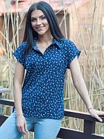 Молодежная женская синяя рубашка с короткими рукавами