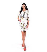"""Платье женское """"Жасмин"""",короткое белое с рисунком."""