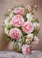Алмазная вышивка ваза с розовыми пионами 20х25 см, полная выкладка, квадратные стразы