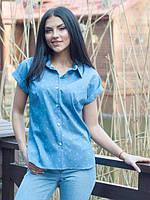Летняя голубая блуза-рубашка с принтом скрипичный ключ
