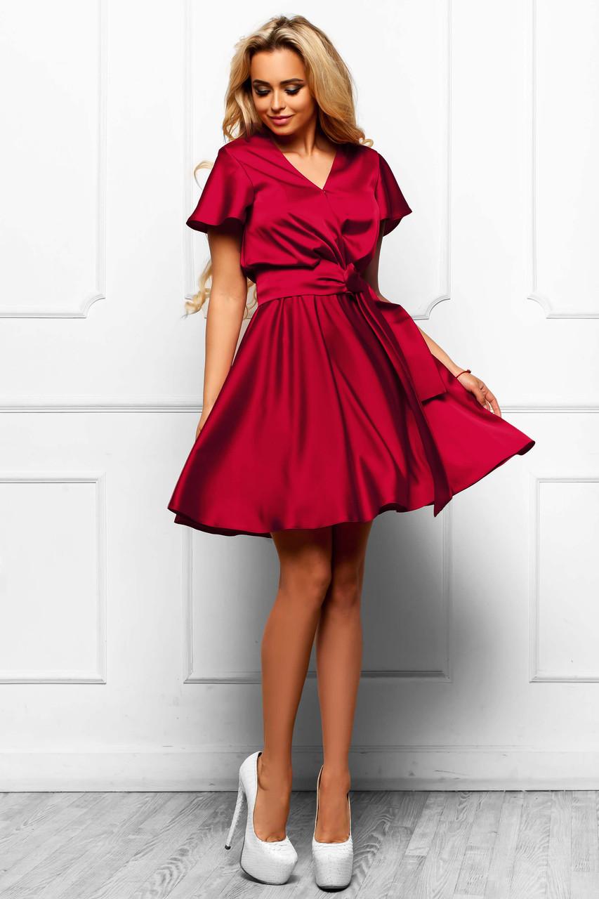 a590fbaff53 Шикарное атласное короткое платье с клешеной юбкой (разные цвета) - IBERIS  в Харькове