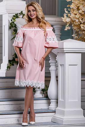 Нарядное платье до колен свободное кружевное коттон стрейч короткий широкий рукав персиковое, фото 2