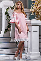 Нарядное платье до колен свободное кружевное коттон стрейч короткий широкий рукав персиковое, фото 3