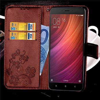 Чехол Clover для Xiaomi Redmi Note 4 / Note 4 Pro книжка коричневый женский, фото 2