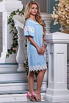 Стильное платье свободного кроя средней длины голубое, фото 3