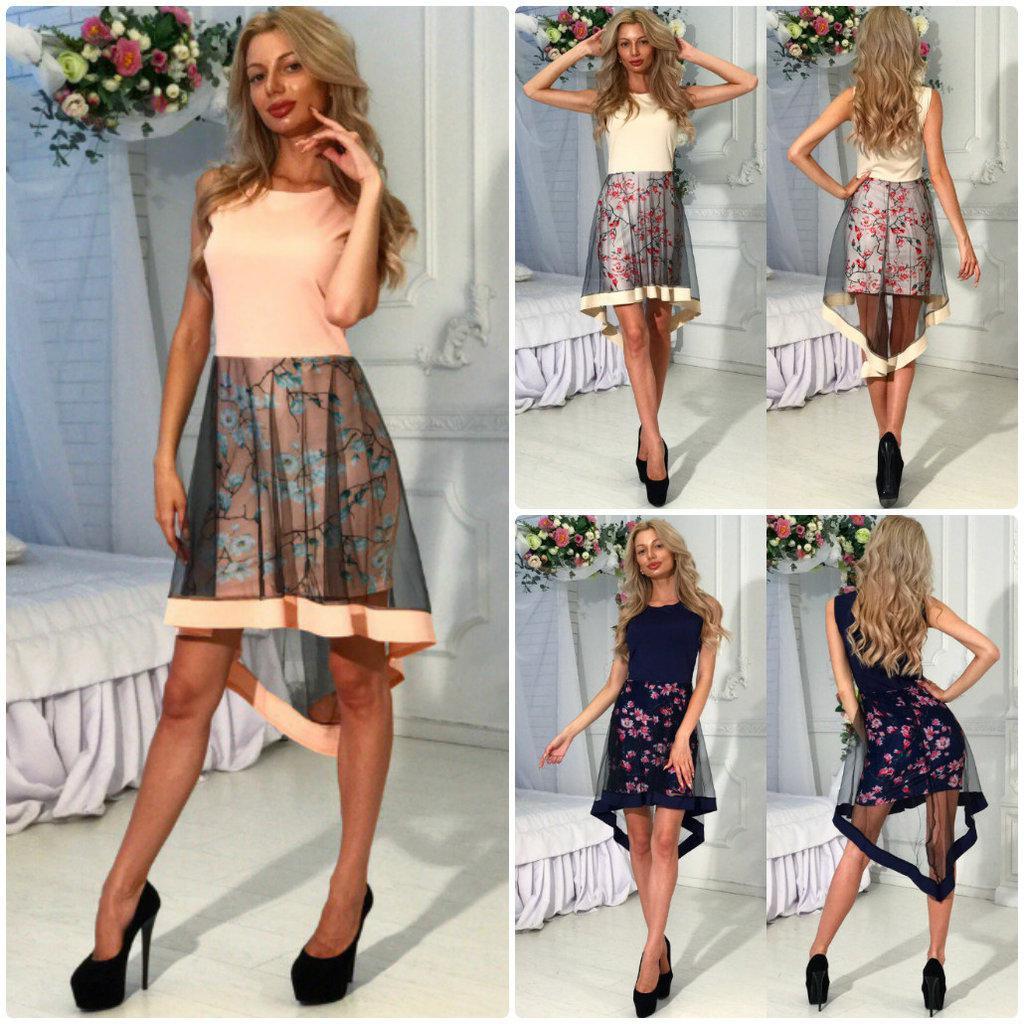 Нежное платье Spring с асимметричной юбкой / сетка / цветочный принт