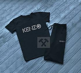 Мужской комплект футболка + шорты kenzo черного цвета (люкс копия)