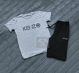 Мужской комплект футболка + шорты kenzo черного и серого цвета (люкс копия)