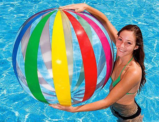 Надувной пляжный мяч Полосатый Intex 107 см, фото 2