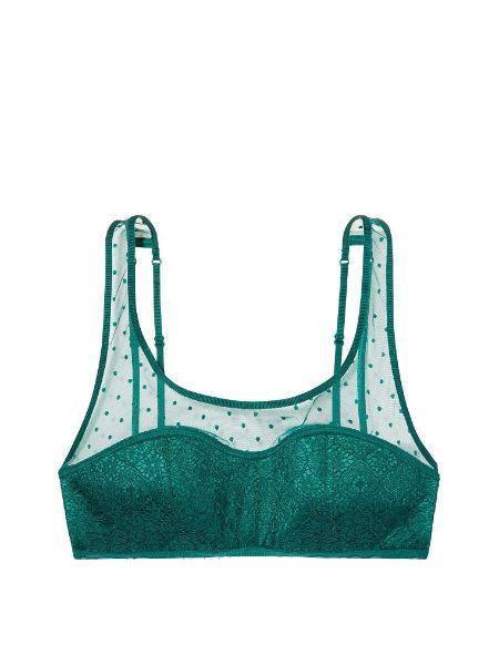 Victoria's Secret бралетт с кружевом оригинал Dot Mesh & Lace Bralette размер S зеленый