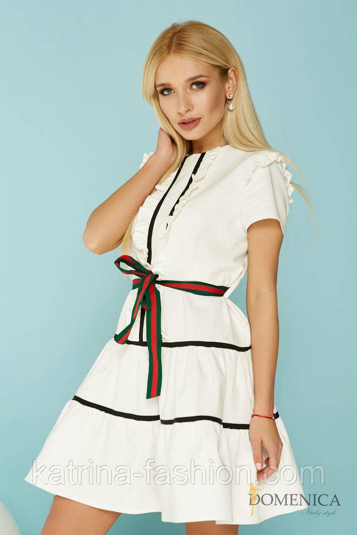 Женское красивое платье с оборками и поясом (2 цвета)