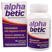 Enzymatic Therapy, Альфа Бетик, корица с магнием и биотином, 90 капсул
