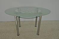 """Стол обеденный стеклянный на хромированных ножках Maxi  DT О2 1240/830 """"волна"""" стекло, хром, фото 1"""