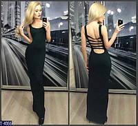 Длинное черное платье  T-4066