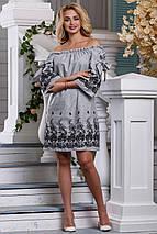 Летнее платье прямого кроя мини рукав три четверти с вышивками серое, фото 2
