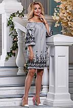 Летнее платье прямого кроя мини рукав три четверти с вышивками серое, фото 3
