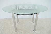"""Стол обеденный стеклянный на хромированных ножках Maxi  DT О2 1240/830 """"черный"""" стекло, хром, фото 1"""