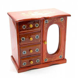 Шкатулка с зеркалом 5 отделений (20,5х21х12,5 см)(Вьетнам) ( 25516)