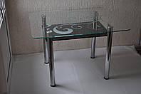 "Стол обеденный Maxi DT R2 1100/700 (2) ""завиток"" стекло, хром, фото 1"