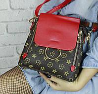 Женский стильный мини-рюкзак красный LV Луи Виттон, фото 1