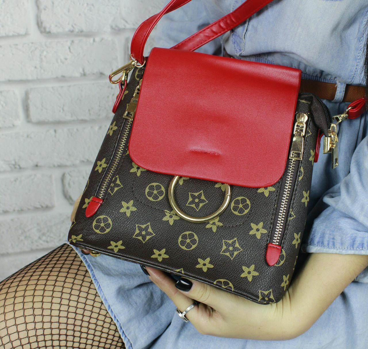 Женский стильный мини-рюкзак красный LV Луи Виттон