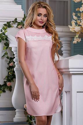 Летнее платье в полоску прямое с коротким рукавом с кружевами розовое, фото 2