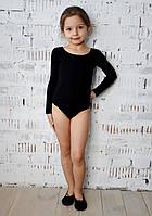 Купальник для танцев и гимнастики с длинным рукавом черный