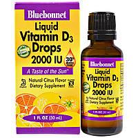 Bluebonnet Nutrition, Жидкий витамин D3 в каплях, натуральный аромат цитрусовых, 2000 МЕ, 1 жидк. унц. (30 мл)