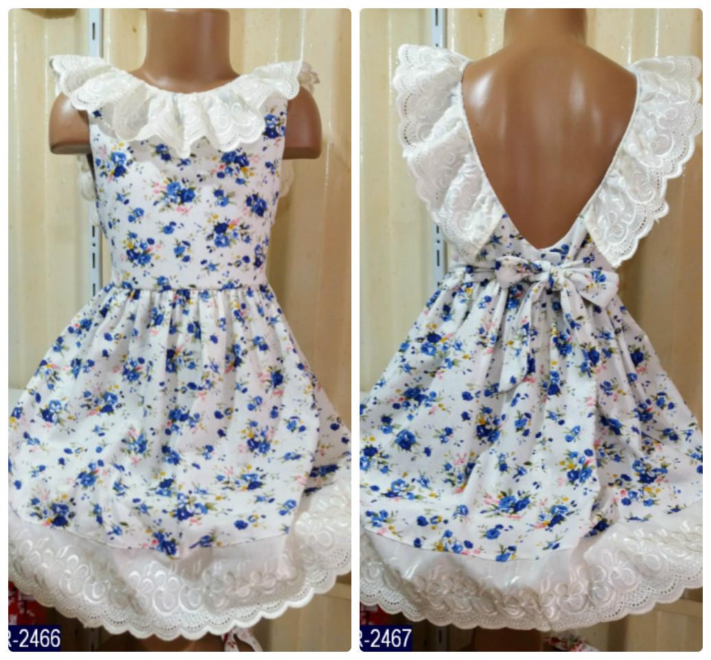 889fc753709 Льняной цветочный летний детский сарафан с открытой спинкой. 2 цвета! -  Интернет-магазин