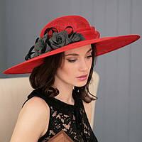 Летняя шляпа  поля 13 см из соломки цвет красный