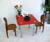 """Стол кухонный стеклянный на хромированных ножках Maxi DT R 900/800 """"красный"""" стекло, хром, фото 1"""