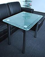 """Стол кухонный стеклянный на хромированных ножках Maxi DT R 800/650 """"кайма"""" стекло, хром, фото 1"""