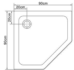 STEFANI поддон пятиугольный акриловый 90*90*15 см, фото 2