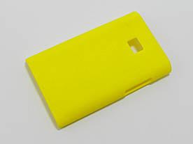 Чехол накладка для LG Optimus L3 E400, E405 пластиковый матовый, желтый