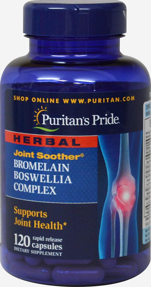 Бромелайн Босвелия с куркумой комплекс для суставов, Bromelain Boswellia, Puritan's Pride, 120 капсул