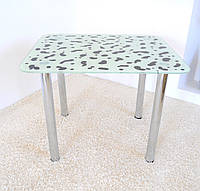 """Стол кухонный стеклянный на хромированных ножках Maxi DT R 900/750 """"коровка"""" стекло, хром, фото 1"""