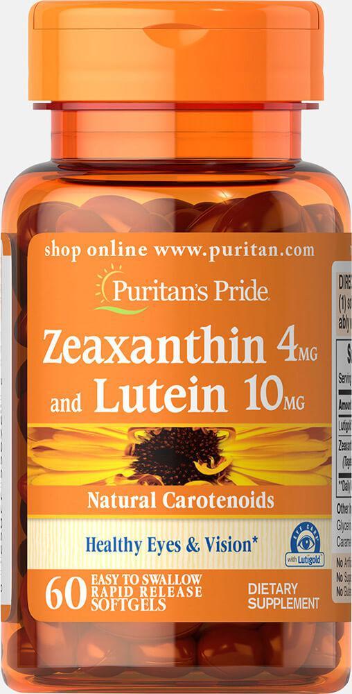 БАД Зеаксантин с Лютеином для улучшения зрения, Zeaxanthin 4mg with Lutein 10mg, Puritan's Pride, 60 капсул