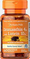 БАД Зеаксантин с Лютеином для улучшения зрения, Zeaxanthin 4mg with Lutein 10mg, Puritan's Pride, 60 капсул, фото 1