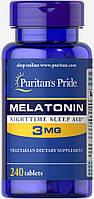 Мелатонин, Melatonin 3 mg, Puritan's Pride, 240 таблеток