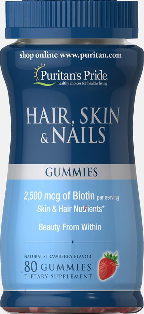 Волосы Кожа Ногти витамины, Hair, Skin & Nails Gummies, Puritan's Pride, 80 жевательных конфет