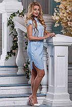 Летнее платье миди с кружевной вставкой прямого кроя с коротким рукавом голубое, фото 2