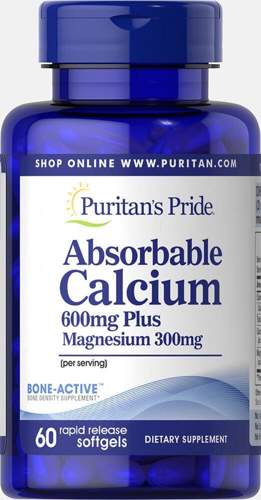 Кальций Магний, Absorbable Calcium 600 mg plus Magnesium 300 mg, Puritan's Pride, 60 капсул