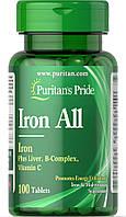 Железо, Iron All Iron, Puritan's Pride, 100 таблеток