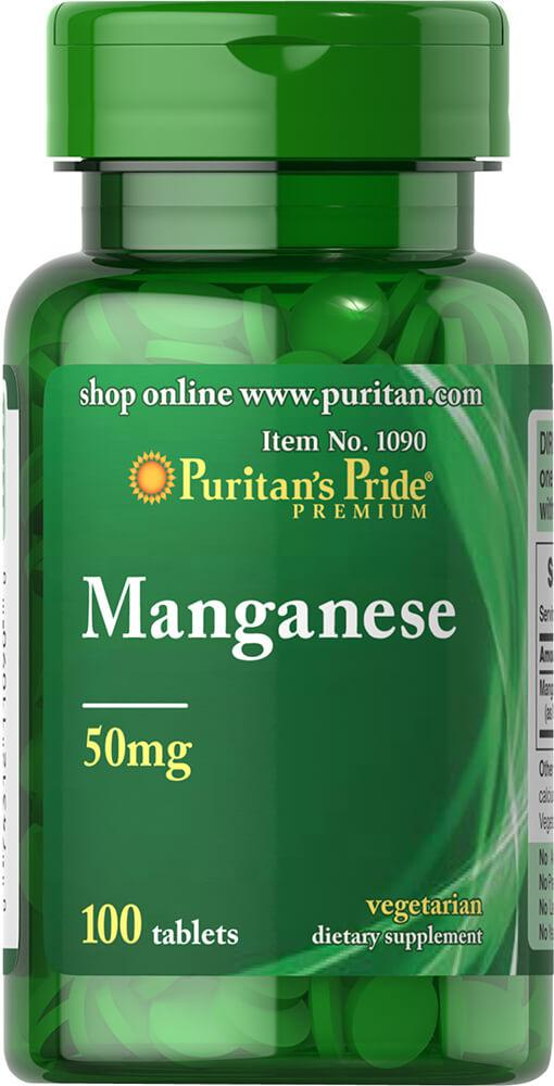 Марганец, Manganese 50 mg, Puritan's Pride, 100 таблеток